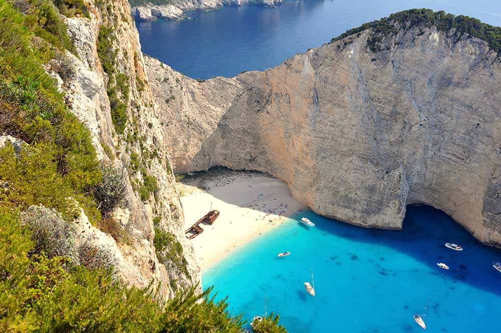 Spiaggia del relitto Zante Grecia vista dall'alto